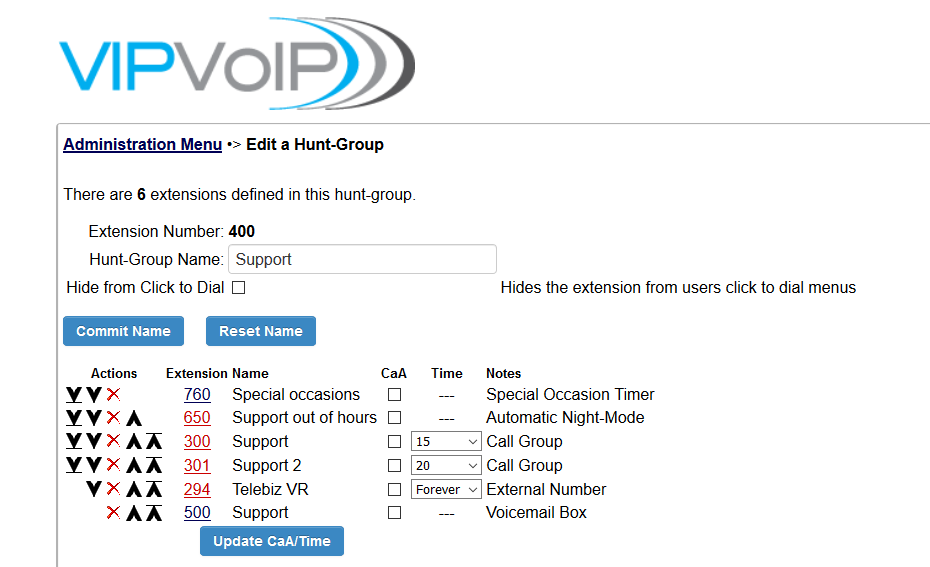 VoIP edit a hunt group