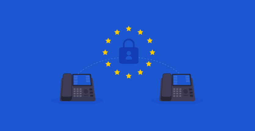 2 Voip phones with the EU data protection logo in the middle