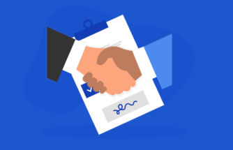 Illustration of two hands shaking above a contract to create a deal for business VoIP.